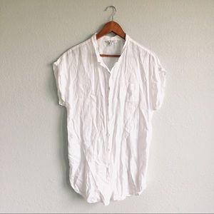 Cabi | White 100% Linen Tunic Button Down Top